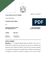 Standard Bank Namibia v Francois Charles Grace. Judg LCA 42-10. Muller J. 12 Aug 11