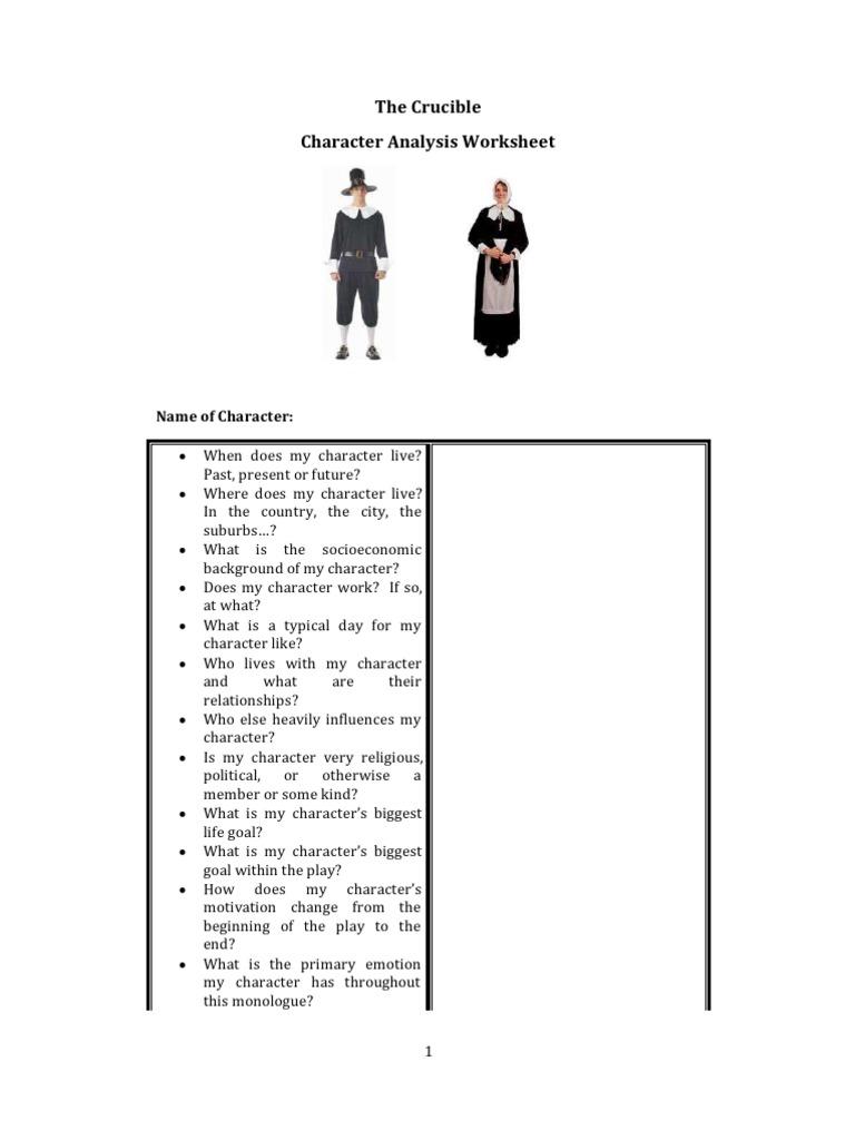 The Crucible Character Analysis Worksheet – Character Analysis Worksheet