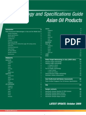 Methodology and Specifications Guide: Asian Oil Products