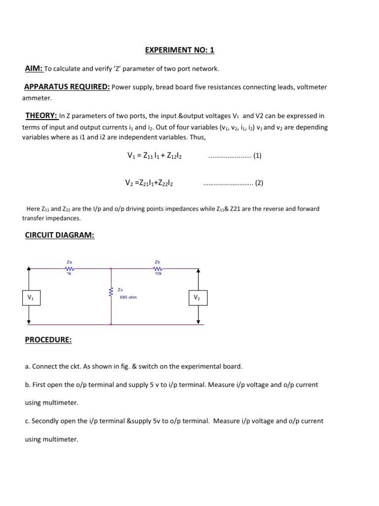 Experiment No1 2 Series And Parallel Circuits Electrical Impedance Components In A Circuit There Is Voltmeter V1