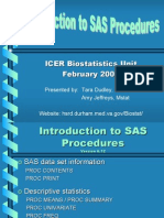 INTRODUCTION TO SAS PROCEDURES