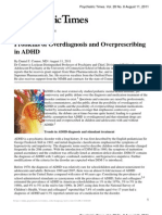 Problems of Over Diagnosis and Over Prescribing in ADHD