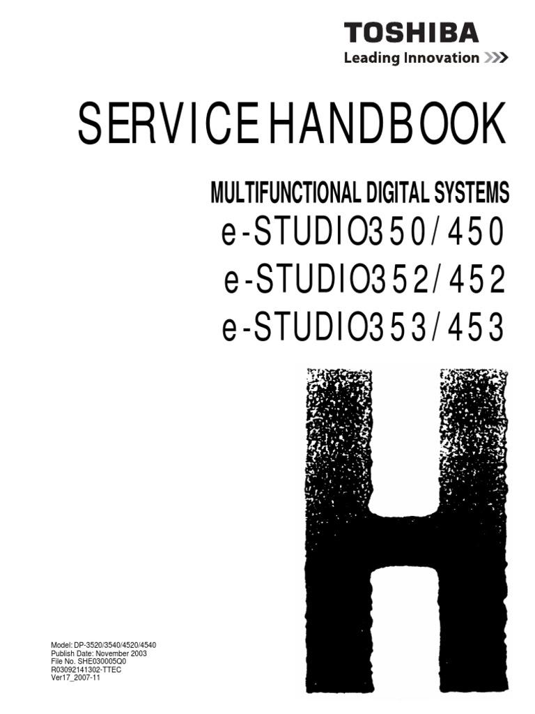 toshiba e studio 452 service manual service handbook parts list catalog