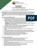 Community Outreach Programmer Job Posting