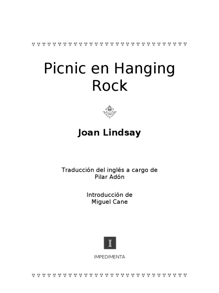Lindsay, Joan - Picnic en Hanging Rock [R1]
