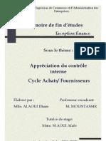 Appréciation du contrôle CYCLE ACHAT FOURNISSEUR MARJANE
