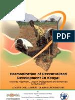 Harmonization of Decentralized Development in Kenya- Towards Alignment, Citizen net and Accountability