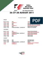 2011 F1 Belgian Grand Prix Timetable