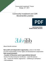 Community Investment and CSR Slovenian/EU practice