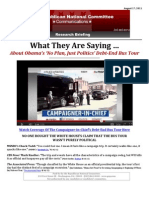 What They Are Saying …  About Obama's 'No Plan, Just Politics' Debt-End Bus Tour