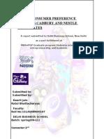 35357589 Study of Consumer Prefarence Towards Cadbury and Nestle Chocolate 1