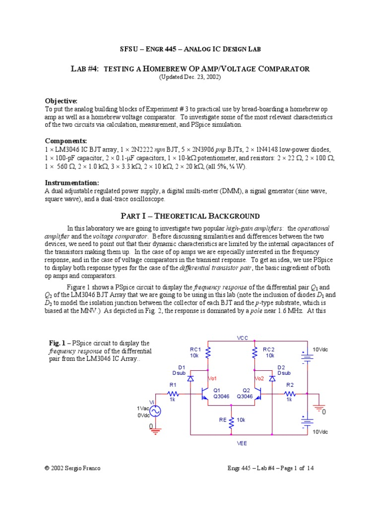 Comparing A Vcompartor Opamp By Lab Expermt Operational Pujt Voltage Comparator Power On Delay Circuits Amplifier