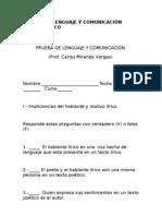 PRUEBA DE LENGUAJE Y COMUNICACIÓN GÉNERO LÍRICO