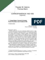 T W Adorno Y Thomas Mann_Correspondencia