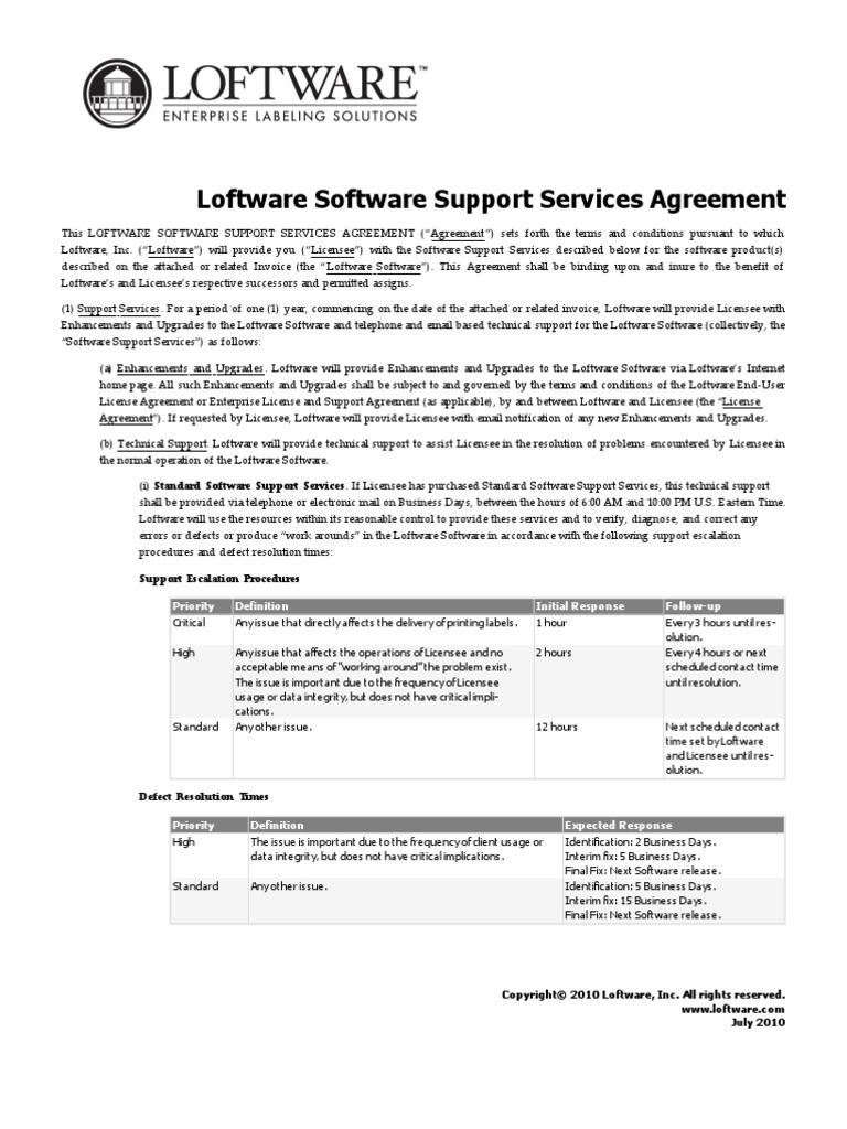Loftware Software Support Services Agreement Arbitration