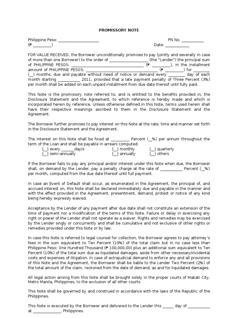 Sample Promissory Note Promissory Note – Legal Promissory Note Sample