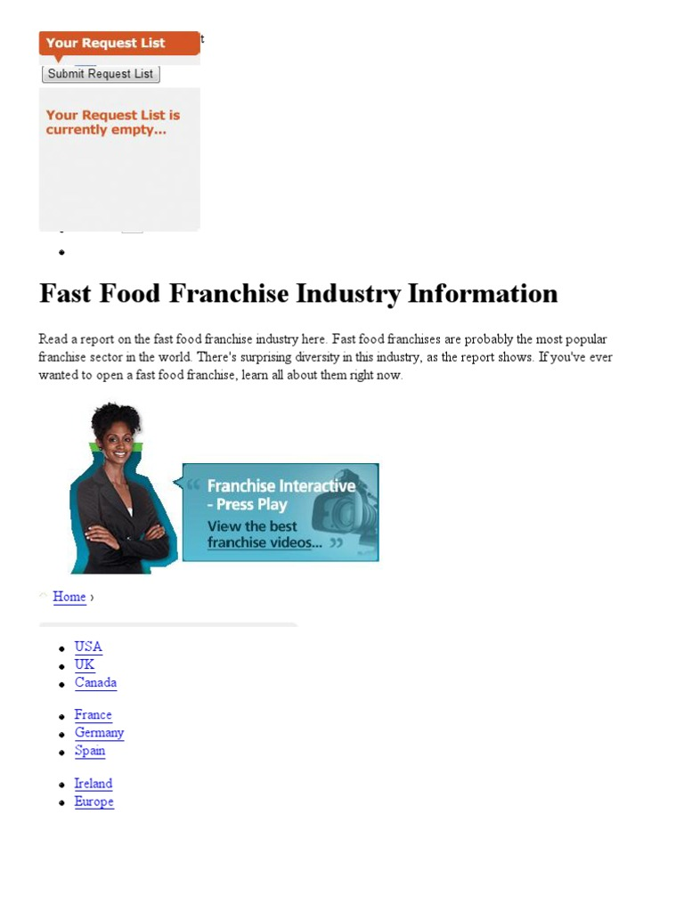 Us Fast Food Franchise Fast Food Restaurants Franchising