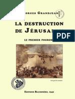 Grandjean Georges - La destruction de Jérusalem, premier progrome (1941)