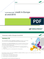 Consumer Credit Market in Europe at End 2010
