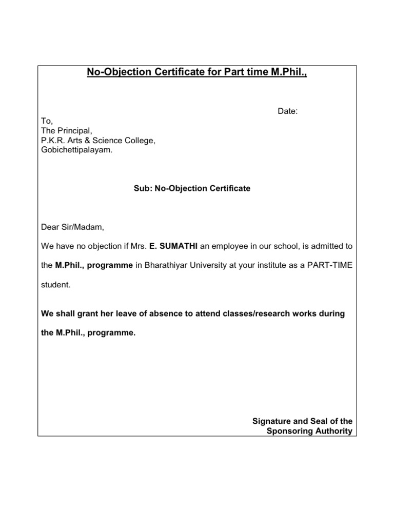 No Objection Certificate  Non Objection Letter