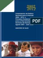 Lineamientos de Política Sectorial para el Período 2002-2012
