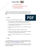 REGLAMENTO INTERNO PARA LA PUBLICACIÓN DE COMENTARIOS EN LA WEB ATANDO CABETES