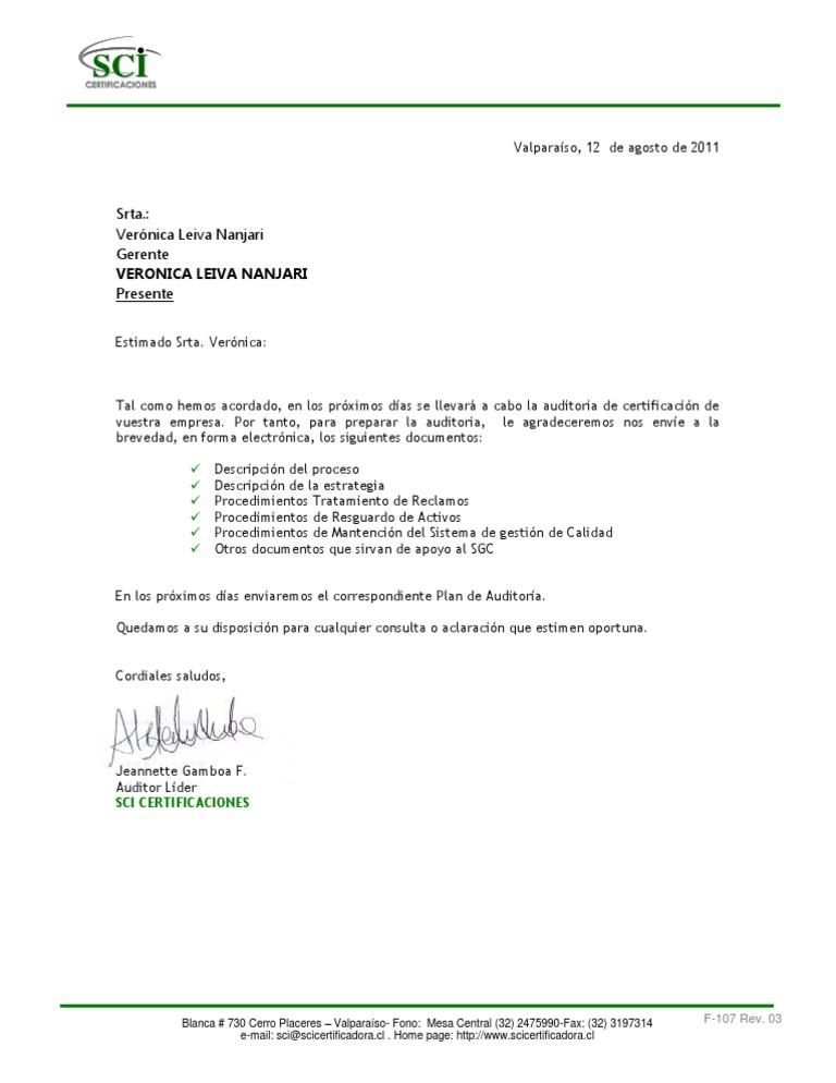 F-107 CARTA SOLICITUD DOCUMENTOS REVISIÓN DOCUMENTAL NCH 2909 ...