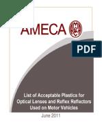 AMECA June 2011 List of Acceptable Plastics for Optical Lenses and Reflex Reflectors