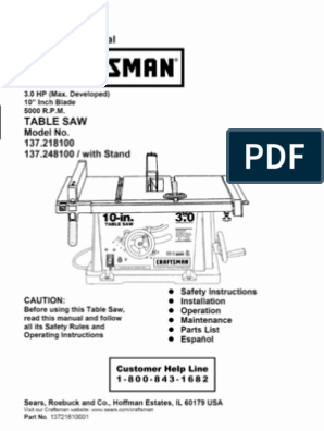 Craftsman Table Saw | Electrical Connector | Nut (Hardware)