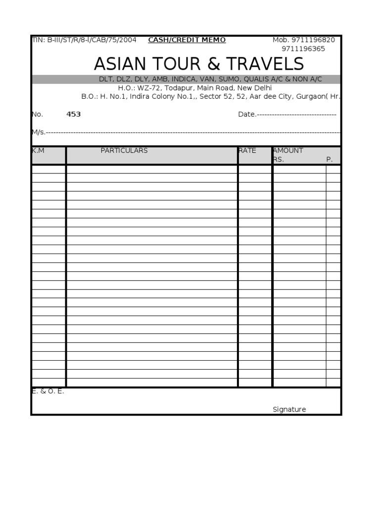 Bill Taxi Format – Format for a Bill