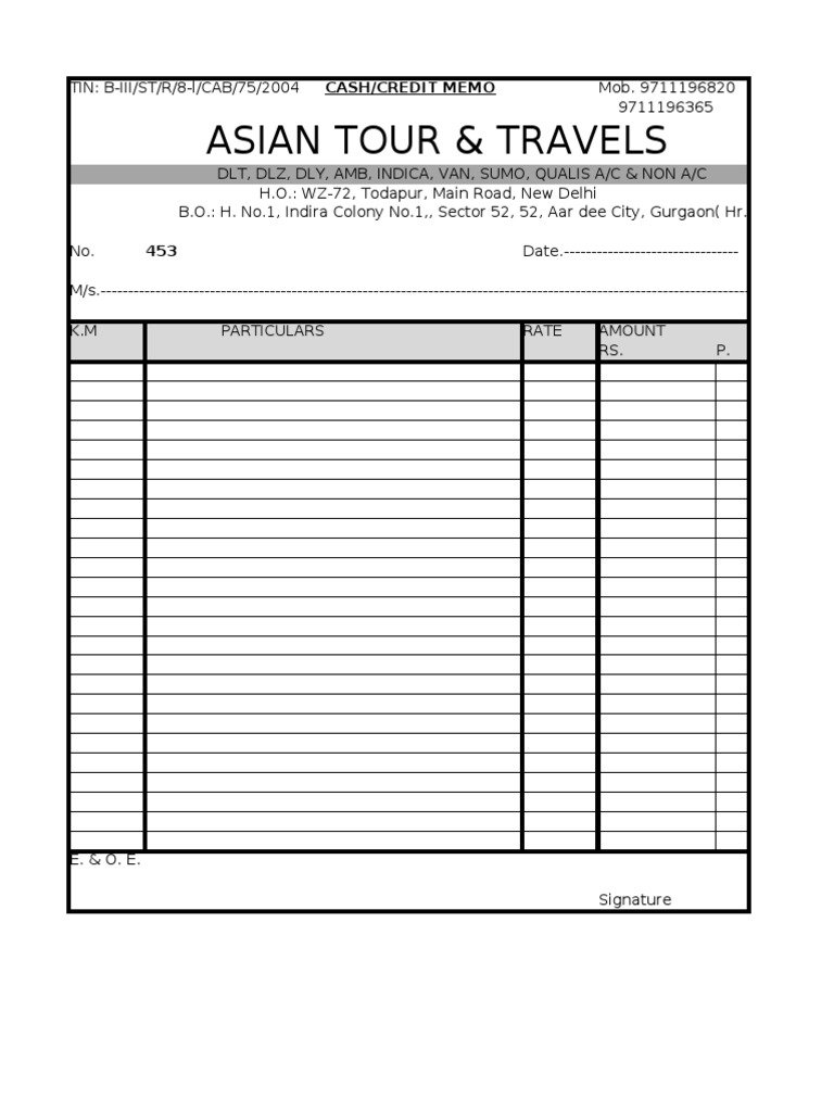 Bill Taxi Format - Taxi invoice sample
