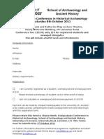 Historical Archaeology PG Conference Registration Form