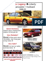 Subaru Legacy Liberty Lancaster Outback 1998-03