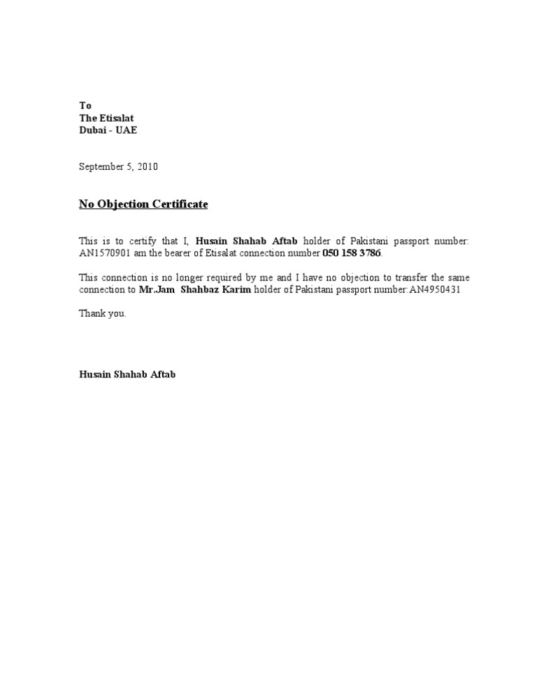 No Object Letter 1 – No Objection Certificate Sample Letter