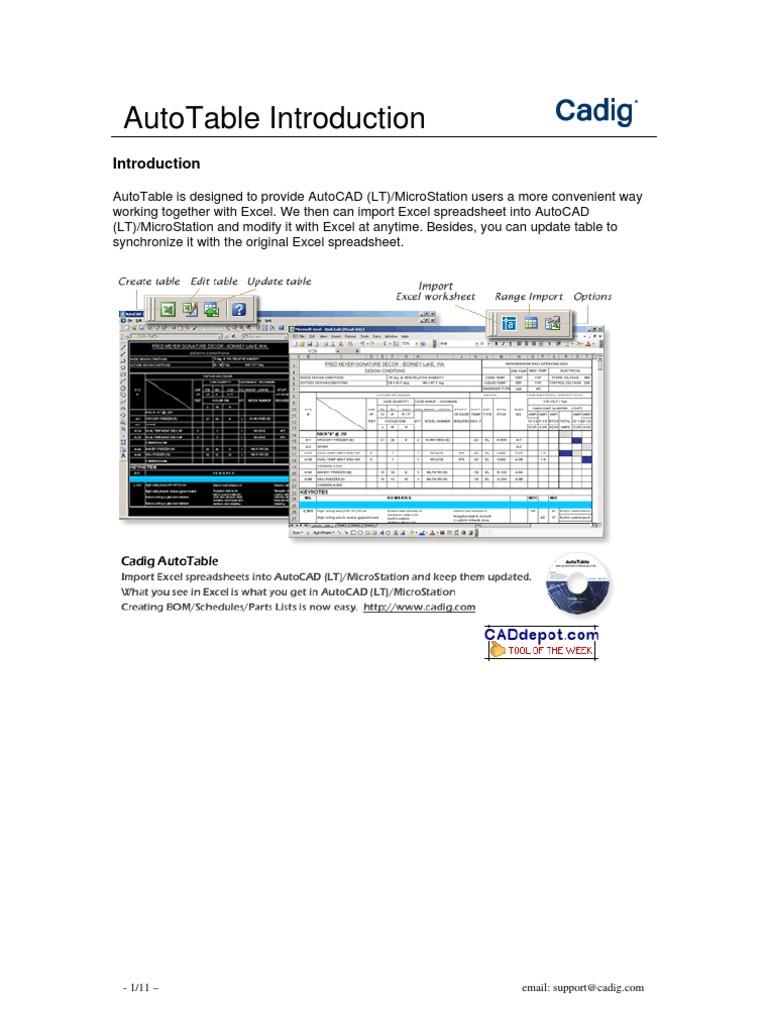Cadig AutoTable Introduction | Auto Cad | Microsoft Excel