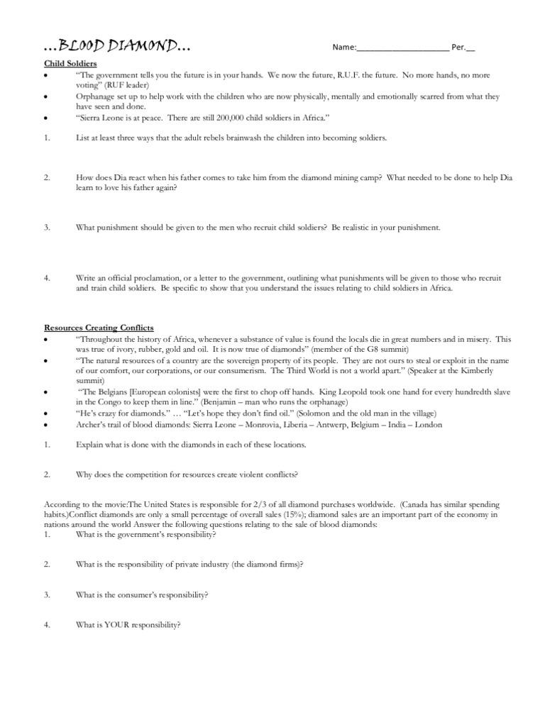 BLOOD DIAMOND Short Worksheet
