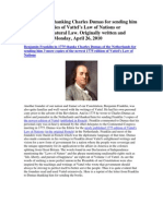 Ben Franklin thanks Charles Dumas for Copies of Vattel's Law of Nations or Principles of Natural Law