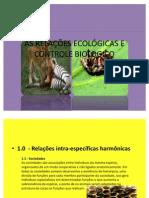 AS RELAÇÕES ECOLÓGICAS E CONTROLE BIOLOGICO