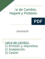 Letra de Cambio, Pagare y Protesto