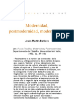 Modernidad, postmodernidad, modernidades