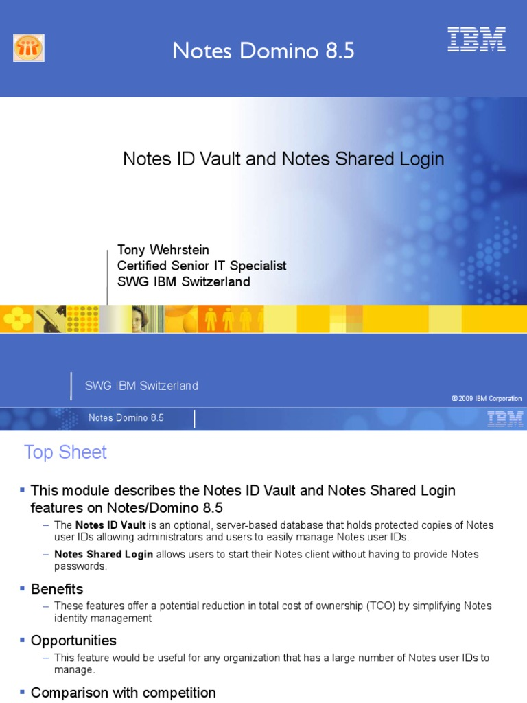 Notes Id Vault and Shared Login | Ibm Notes | Password