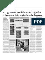 Programas sociales entregarán informes trimestrales de logros