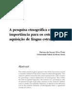 A pesquisa etnografica e sua importancia para os estudos de aquisição de lingua estrangeira