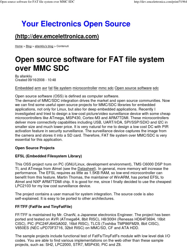 Open Source Software for FAT File System Over MMC SDC | Secure