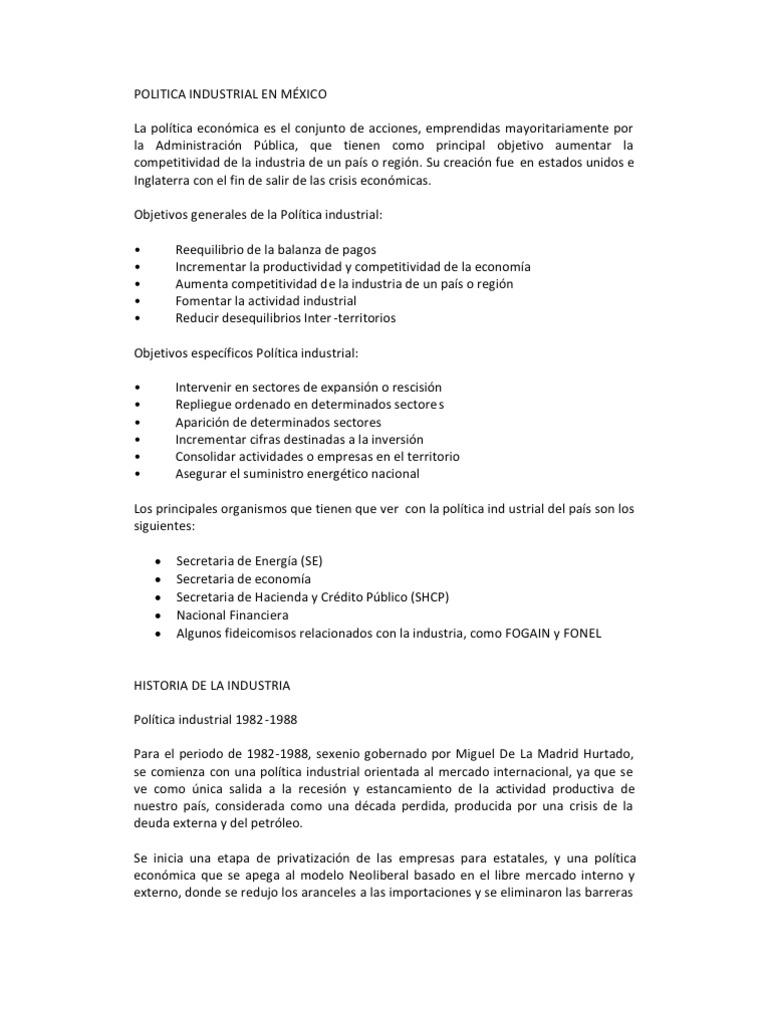 POLITICA INDUSTRIAL EN MÉXICO