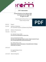 Programa Jornada Estudios de las Mujeres 2011