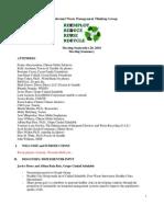 Minutes of CGI Informal Waste Management Thinking Group, 2010