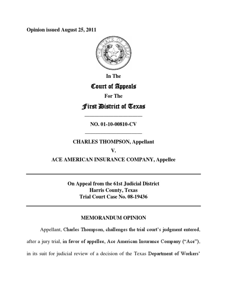 CHARLES THOMPSON v. ACE AMERICAN INSURANCE CO. Opinion ...