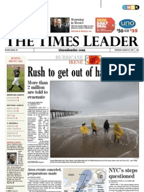 Times Leader 08-27-2011 | Wilkes Barre | Tropical Cyclones