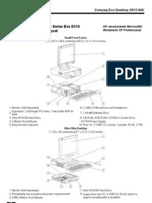 Hp Compaq Evo d510 Quickspec | Microsoft Windows | Bios